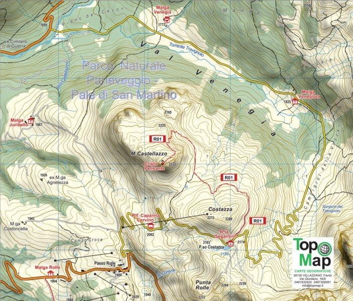 Mappa trekking cristo pensante sentiero