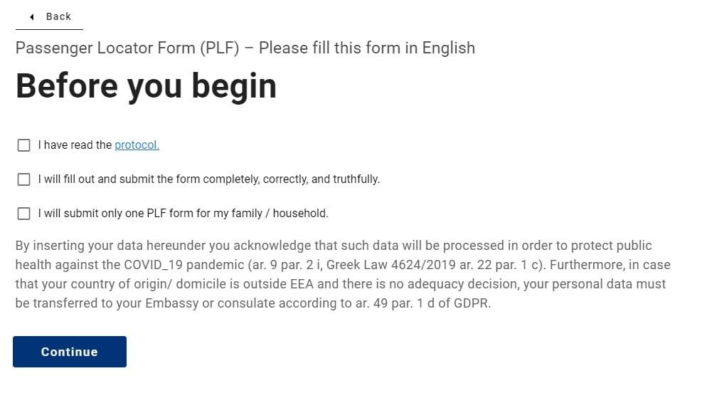 Passenger Locator Form_domande initials to click